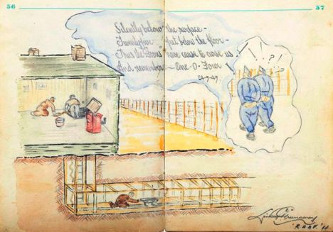 Link to British POW's color sketches