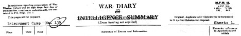 Link to War Diary of Internment Camp No. 135: Mar 4-19